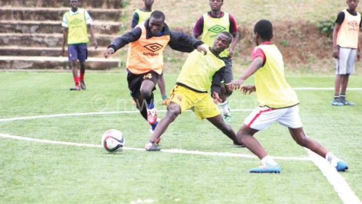 Under-17 players undergoing trials at Mpira Stadium in Chiwembe, Blantyre