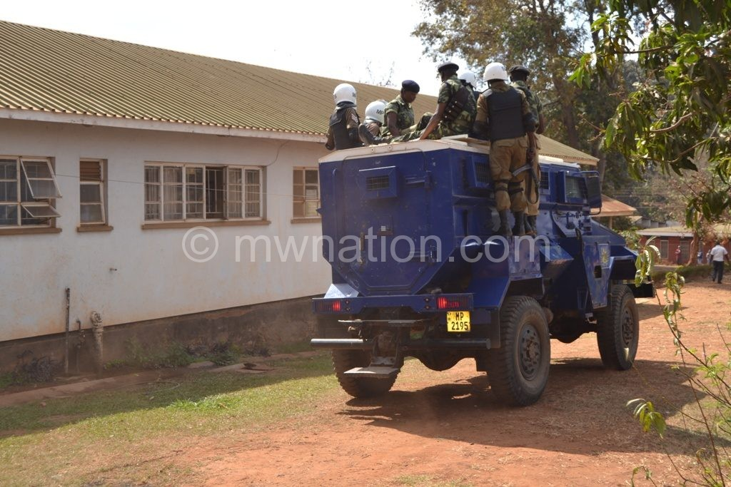 The armoured police van Kasambara and his co-convicts arrives at the court
