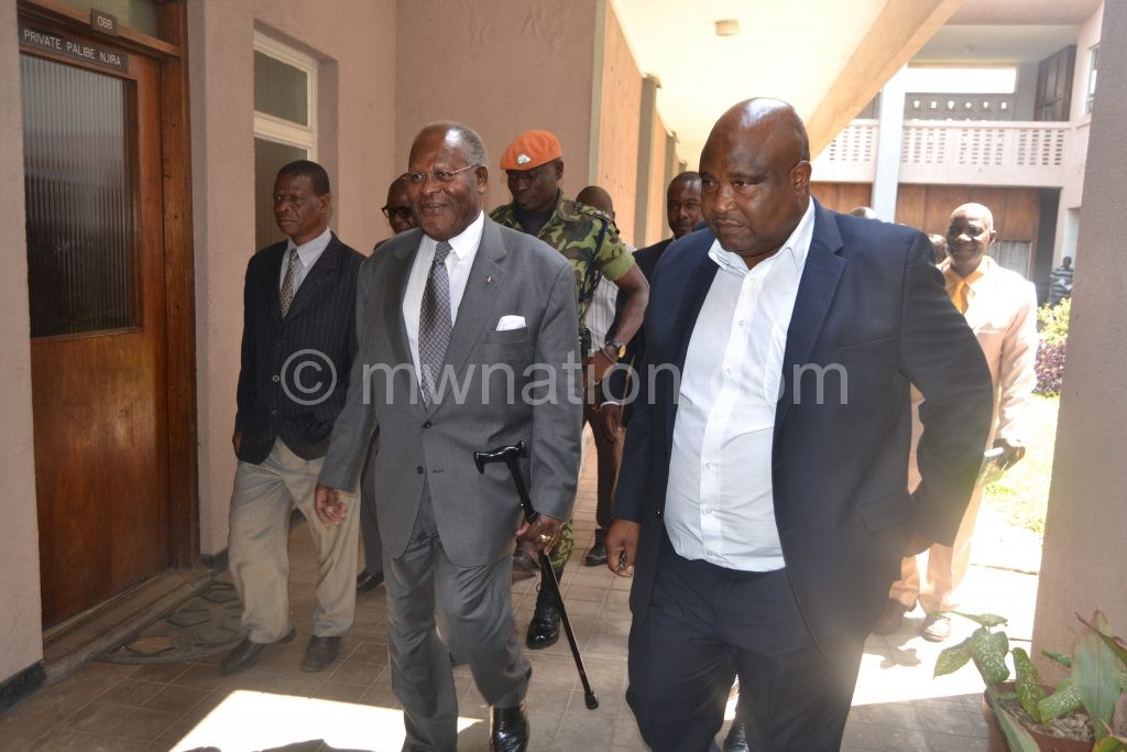 Muluzi making his way out of the court on Monday