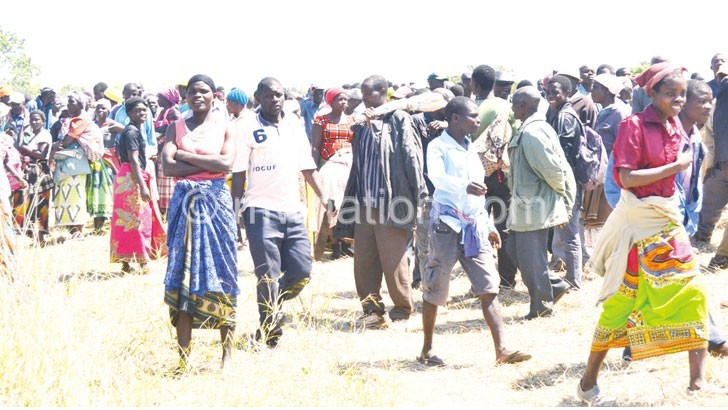 Some of the people at the abortive land distribution in Thyolo