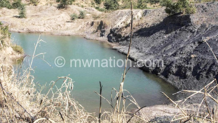 Open pit filled with water at Eland Coal Mine