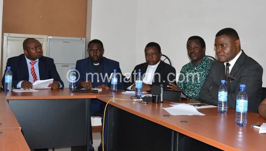 From left Martin Chiphwanya, Rev Grey Mwalabu, Fr Henry aindi, Rev Zak Kawalala and Dr Rodney Kalanda during the press briefing