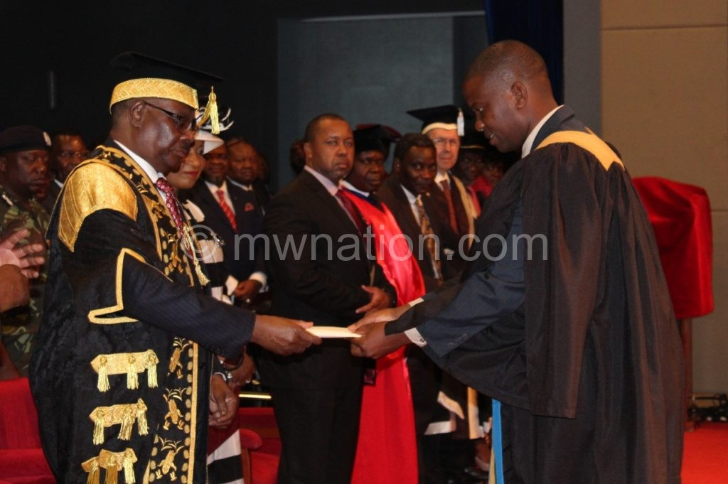 President Peter Mutharika congratulates the Graduants passed with Distinction during the graduation CStanley Makuti 1 1 | The Nation Online