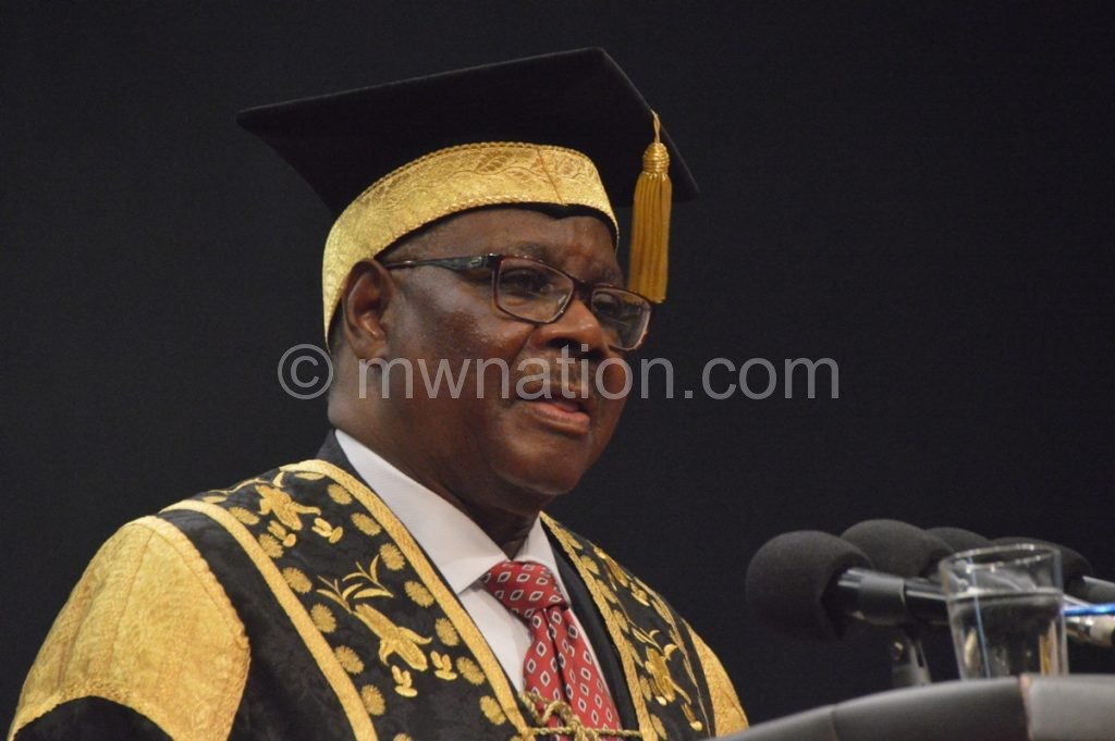 President Peter Mutharika speaks during the Lilongwe University of Agriculture and Natural resources graduation ceremony C Stanley Makuti | The Nation Online