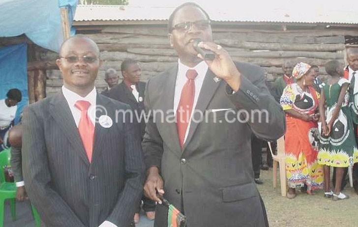 Flashback: Mlogera (L) with MCP president Lazarus Chakwera at a rally in Mzuzu