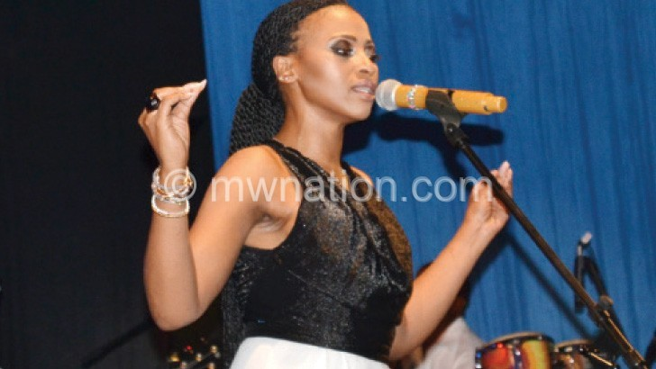 Zonke in the middle of her performance