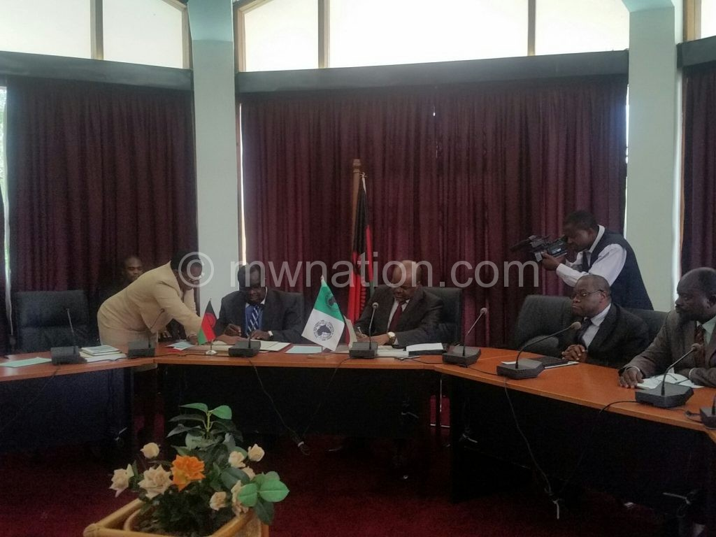 Gondwe and Mwaba put pen to paper to operationalise the agreement
