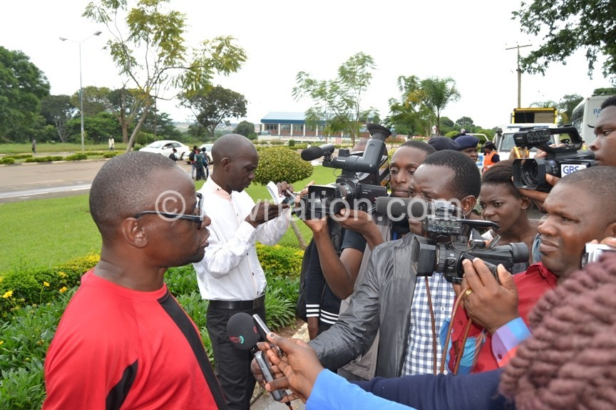 CSOs Chairman Billy Mayaya being interviewed by press after they deliver their petition at Parliament Lilongwe c Abel Ikiloni Mana | The Nation Online