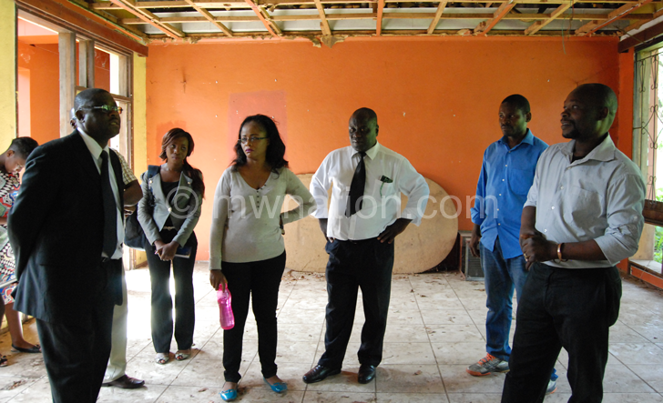 Artists touring the dilapidated Blantyre Cultural centre offices | The Nation Online