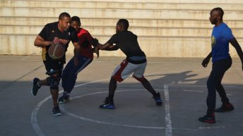 Vice-President takes basketballers by surprise
