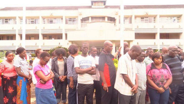 Chanco support staff holding vigil at University office