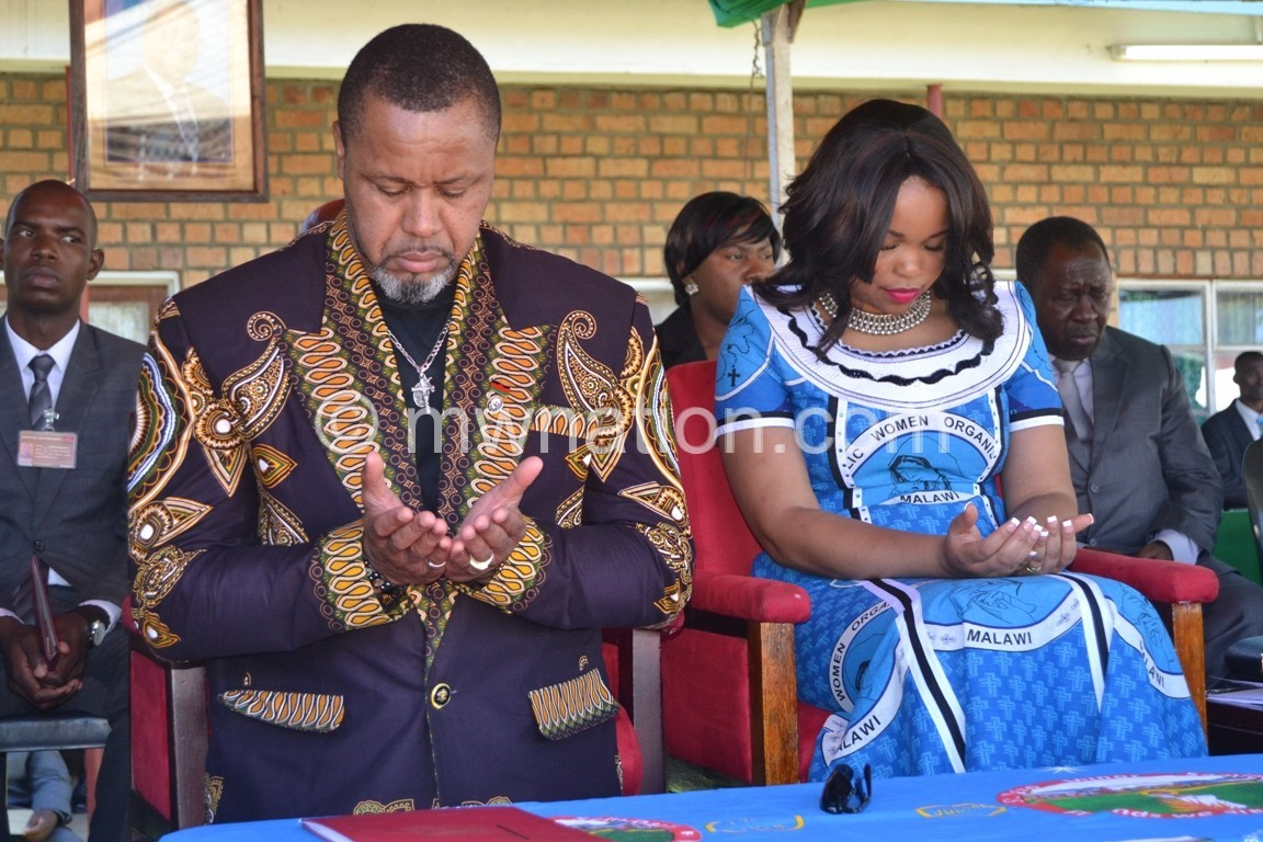 Chilima with his spouse Mary Chilima | The Nation Online