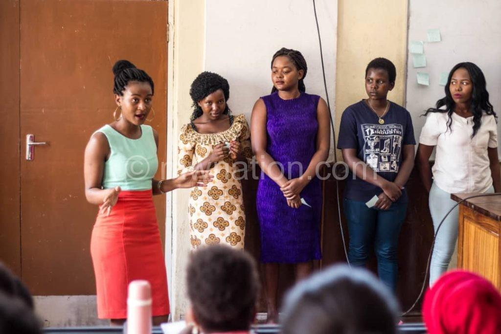 Deliwe speaking at one of the women Inspire volunteer meetings | The Nation Online