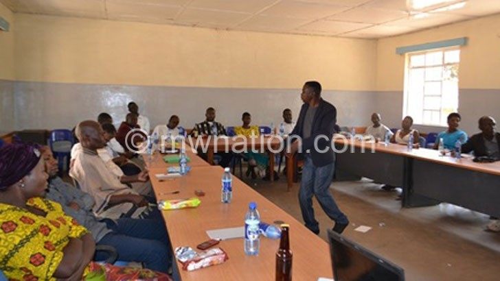 Mkupatira addresses participants during the meeting | The Nation Online
