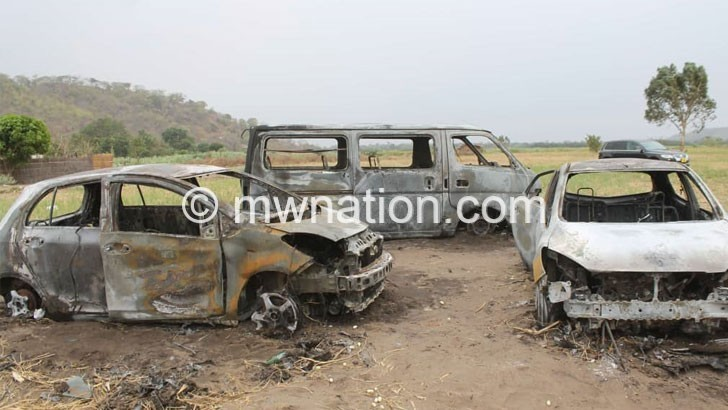 vehicles burnt   The Nation Online