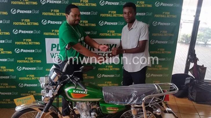 Man wins motorbike in PremierBet with K3 000