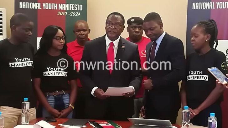 Chakwera supports Youth Manifesto