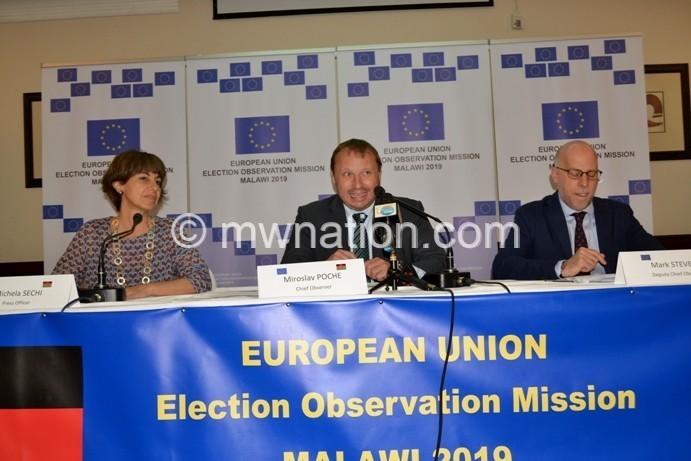 EU Observer Chief Oberver Miroslav Poche C Deputy chief observer Mark Stevens and Chief Press officer Michela Sechi | The Nation Online