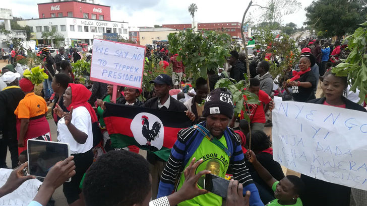 MCP supporters in  Mzuzu join protests