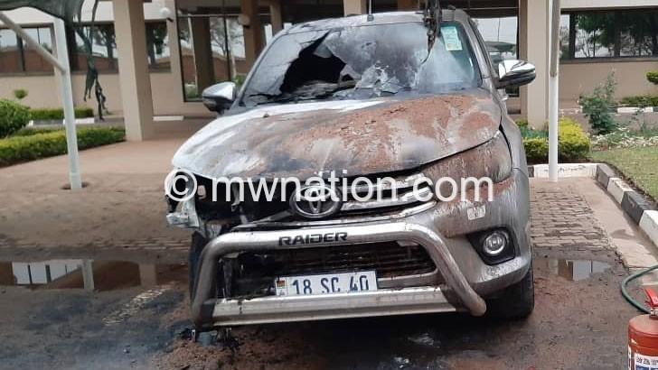 Thugs bomb Tobacco Commission vehicle