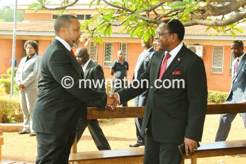 Chilima and chakwera handshake | The Nation Online