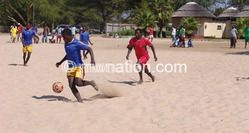 Beach soccer can also be played offshore